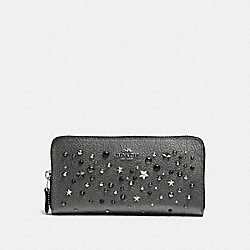 ACCORDION ZIP WALLET STAR RIVETS - f59489 - SILVER/METALLIC GRAPHITE