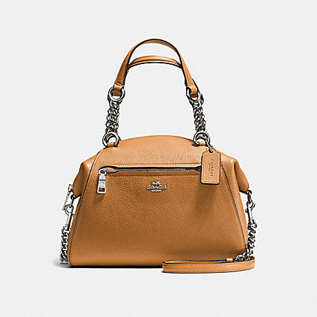 COACH f59501 CHAIN PRAIRIE SATCHEL SILVER/LIGHT SADDLE