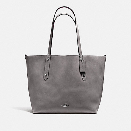 COACH f59503 REVERSIBLE LARGE MARKET TOTE Heather Grey/Oxblood/DARK GUNMETAL