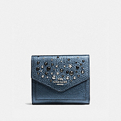 SMALL WALLET WITH STAR RIVETS - f59510 - SILVER/METALLIC BLUE