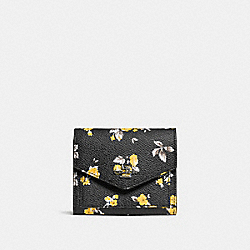 SMALL WALLET WITH PRAIRIE PRINT - f59513 - DARK GUNMETAL/PRAIRIE PRINT BLACK