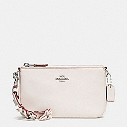 COACH F59525 - LARGE WRISTLET 19 IN PEBBLE LEATHER WITH STUDDED STRAP EMBELLISHMENT SILVER/CHALK