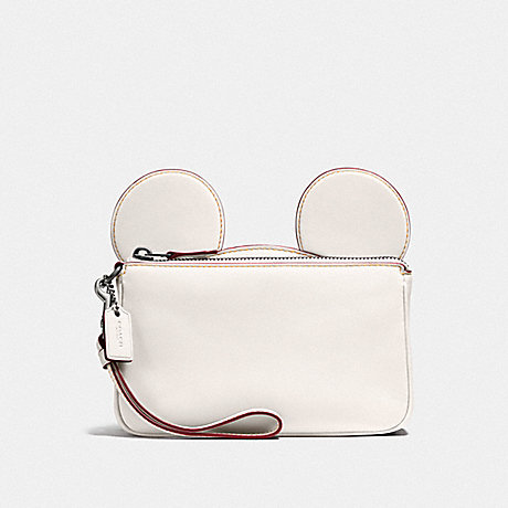 COACH f59529 WRISTLET IN GLOVE CALF LEATHER WITH MICKEY EARS BLACK ANTIQUE NICKEL/CHALK