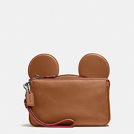 COACH f59529 WRISTLET IN GLOVE CALF LEATHER WITH MICKEY EARS ANTIQUE NICKEL/SADDLE