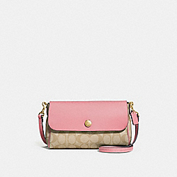 REVERSIBLE CROSSBODY IN SIGNATURE CANVAS - f59534 - light khaki/peony/light gold