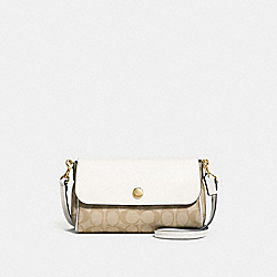 REVERSIBLE CROSSBODY IN SIGNATURE CANVAS - f59534 - LIGHT KHAKI/CHALK/light gold