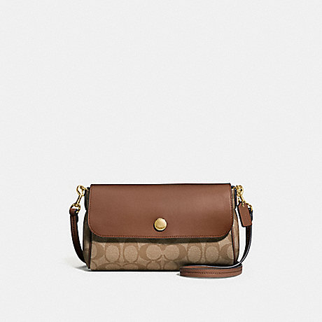 REVERSIBLE CROSSBODY IN SIGNATURE CANVAS - COACH F59534 - KHAKI/SADDLE 2/light gold