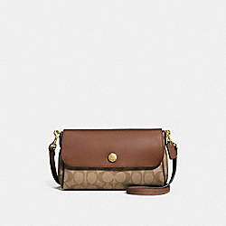 REVERSIBLE CROSSBODY IN SIGNATURE CANVAS - f59534 - KHAKI/SADDLE 2/light gold