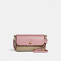 REVERSIBLE CROSSBODY - f59534 - light khaki/vintage pink/imitation gold