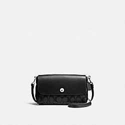 REVERSIBLE CROSSBODY IN SIGNATURE COATED CANVAS - f59534 - SILVER/BLACK SMOKE