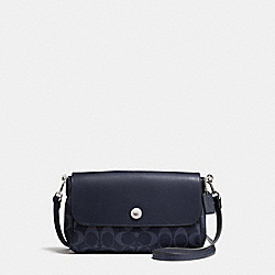 REVERSIBLE CROSSBODY IN SIGNATURE COATED CANVAS - f59534 - SILVER/DENIM