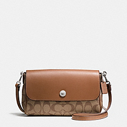 REVERSIBLE CROSSBODY IN SIGNATURE COATED CANVAS - f59534 - SILVER/KHAKI