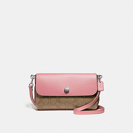 COACH f59534 REVERSIBLE CROSSBODY SILVER/KHAKI BLUSH 2