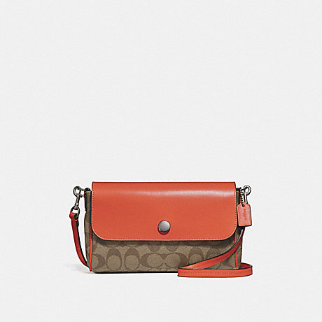 COACH f59534 REVERSIBLE CROSSBODY KHAKI/ORANGE RED/SILVER