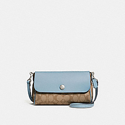 REVERSIBLE CROSSBODY IN SIGNATURE CANVAS - f59534 - khaki/pale blue/silver