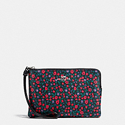 COACH F59551 Corner Zip Wristlet In Ranch Floral Print Coated Canvas SILVER/BRIGHT RED