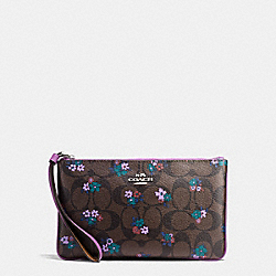 COACH F59553 Large Wristlet In Signature C Ranch Floral Print Coated Canvas SILVER/BROWN MULTI