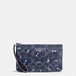 COACH F59553 Large Wristlet In Signature C Ranch Floral Print Coated Canvas SILVER/DENIM MULTI