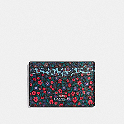 COACH F59554 Flat Card Case In Ranch Floral Print Mix Coated Canvas SILVER/MULTI