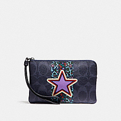 COACH F59556 Corner Zip Wristlet In Signature Ranch Varsity Stripe Coated Canvas SILVER/DENIM MULTI