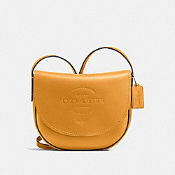 COACH F59723 - HUDSON CROSSBODY IN NATURAL SMOOTH LEATHER BLACK ANTIQUE NICKEL/MUSTARD