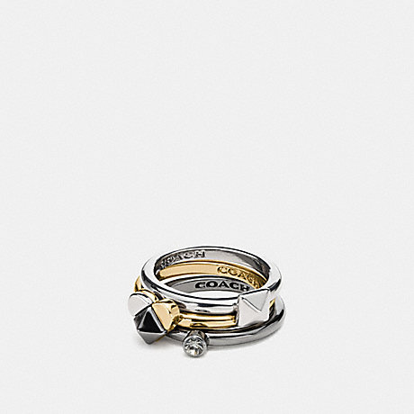 COACH STUDDED HEART RING SET - SILVER/BLACK - f59766