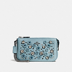 COACH F59772 Nolita Wristlet 19 With Tea Rose And Snakeskin Detail DARK GUNMETAL/CLOUD MULTI