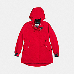 COACH VARSITY STRIPE PARKA RAINCOAT - BRIGHT RED - F59775