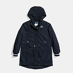 COACH F59775 Varsity Stripe Parka Raincoat NAVY