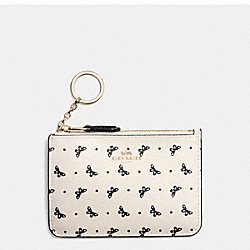 COACH F59781 Key Pouch With Gusset In Butterfly Dot Print Coated Canvas IMITATION GOLD/CHALK/BLACK