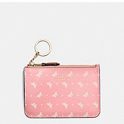 COACH F59781 Key Pouch With Gusset In Butterfly Dot Print Coated Canvas IMITATION GOLD/BLUSH CHALK