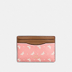 COACH F59787 Flat Card Case In Butterfly Dot Print Coated Canvas IMITATION GOLD/BLUSH CHALK