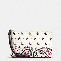 COACH F59790 Corner Zip Wristlet In Butterfly Bandana Print Coated Canvas IMITATION GOLD/CHALK/BRIGHT PINK