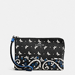 COACH F59790 Corner Zip Wristlet In Butterfly Bandana Print Coated Canvas SILVER/BLACK LAPIS