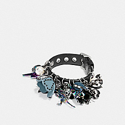 CLUSTERED COACH CHARMS EYELET BRACELET - F59801 - MULTICOLOR/BLACK