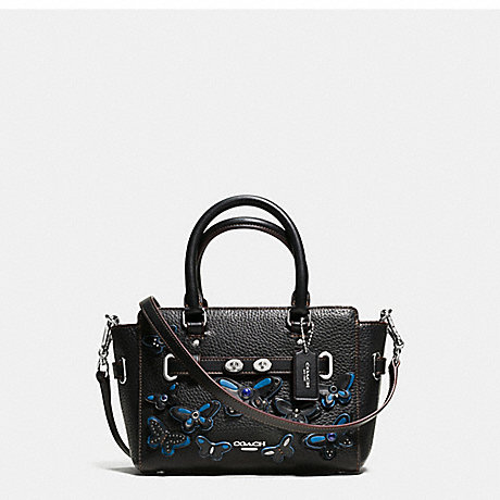 COACH f59810 MINI BLAKE CARRYALL IN PEBBLE LEATHER WITH ALL OVER BUTTERFLY APPLIQUE SILVER/BLACK