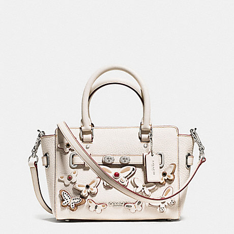 COACH f59810 MINI BLAKE CARRYALL IN PEBBLE LEATHER WITH ALL OVER BUTTERFLY APPLIQUE SILVER/CHALK