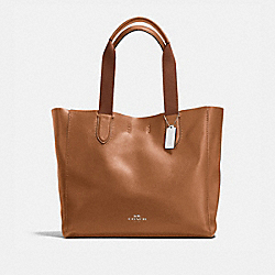 LARGE DERBY TOTE IN PEBBLE LEATHER - f59818 - SILVER/SADDLE