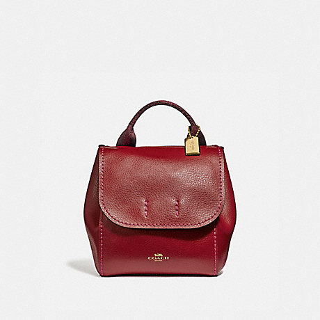 COACH F59819 DERBY BACKPACK CHERRY /LIGHT GOLD