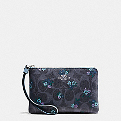 COACH F59824 Corner Zip Wristlet In Signature C Ranch Floral Coated Canvas SILVER/DENIM MULTI