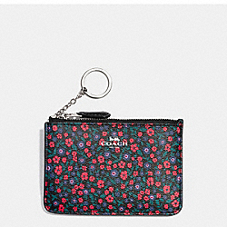 COACH F59828 Key Pouch With Gusset In Ranch Floral Print Coated Canvas SILVER/BRIGHT RED