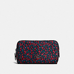 COACH F59830 - COSMETIC CASE 17 IN RANCH FLORAL PRINT NYLON BLACK ANTIQUE NICKEL/BRIGHT RED