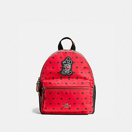 COACH f59831 MINI CHARLIE BACKPACK IN PRAIRIE BANDANA PRINT WITH MICKEY QB/Bright Red Black