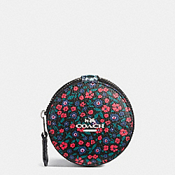 COACH F59835 Round Trinket Box In Ranch Floral Print Mix Coated Canvas SILVER/MULTI