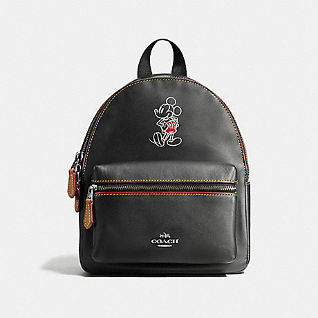 COACH f59837 MINI CHARLIE BACKPACK IN GLOVE CALF LEATHER WITH MICKEY ANTIQUE NICKEL/BLACK