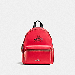 COACH F59837 Mini Charlie Backpack In Glove Calf Leather With Mickey BLACK ANTIQUE NICKEL/BRIGHT RED