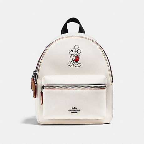 COACH f59837 MINI CHARLIE BACKPACK IN GLOVE CALF LEATHER WITH MICKEY BLACK ANTIQUE NICKEL/CHALK