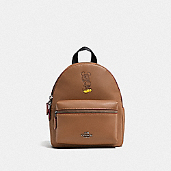 MINI CHARLIE BACKPACK WITH MICKEY - F59837 - SADDLE/BLACK ANTIQUE NICKEL