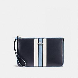 LARGE WRISTLET IN NATURAL REFINED LEATHER WITH VARSITY STRIPE - f59843 - SILVER/MIDNIGHT