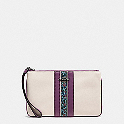 COACH F59845 - LARGE WRISTLET IN NATURAL REFINED LEATHER WITH FLORAL PRINT BLACK ANTIQUE NICKEL/CHALK MULTI